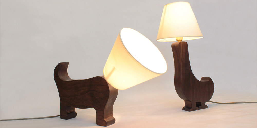 Matt Pugh - wooden dog and duck lamps