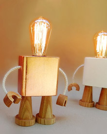 Wood Robot lamps - Robo Lamp